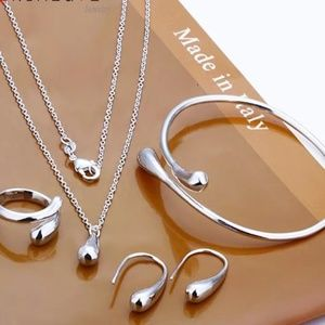 FINE JEWELRY SET DROP WATER SILVER PLATED
